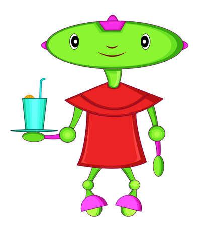 Green Head Robot Waiter Cartoon