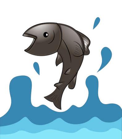 salmon migration: Jumping Salmon
