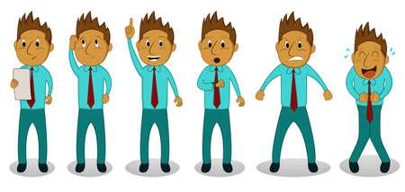 laugh out loud: Cartoon Businessman in Action Set Illustration