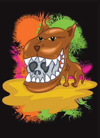 large skull: Wild Dog Illustration