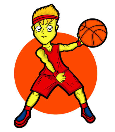 Young Basketball Player Cartoon Illustration