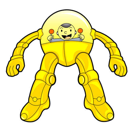Yellow Robot Controlled by A Baby Vector Cartoon