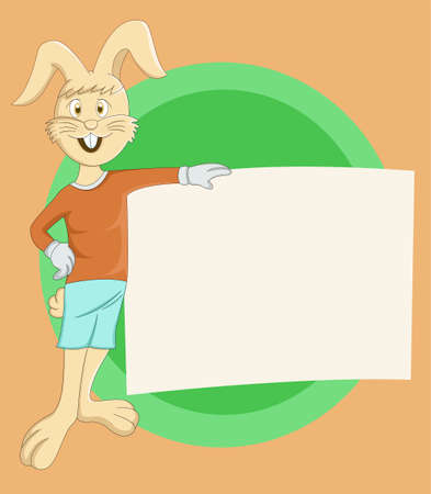 Easter Rabbit with Sign Board Illustration