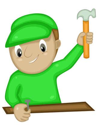 hammering: Craftsman Hammering Nail