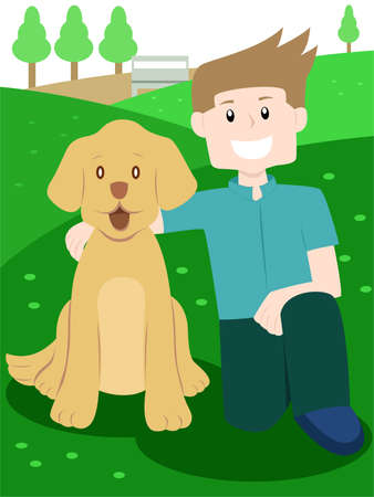 Man Posing with His Dog Illustration