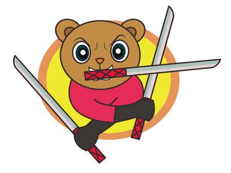 Ninja Bear with Three Swords