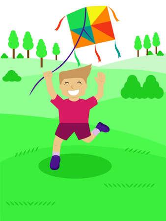 cheerfully: Kid Playing Kite Illustration