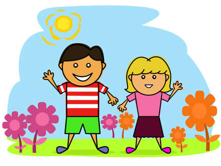 Children in the Garden Cartoon