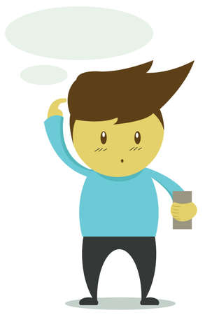 handphone: Man Confused Reading Message on Mobile Phone Illustration