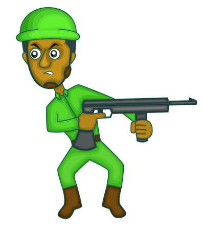 machine gun: Soldier with Machine Gun Cartoon Illustration