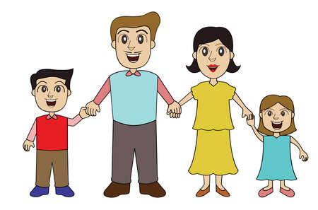 Family Holding Hands Illustration