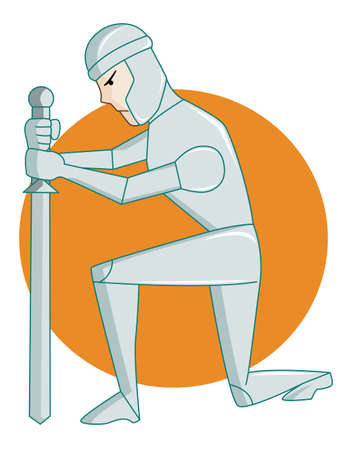 Warrior Kneeling Sword Rounded Background