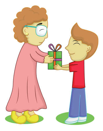 grandparent: Boy Giving Gift for Grandmother