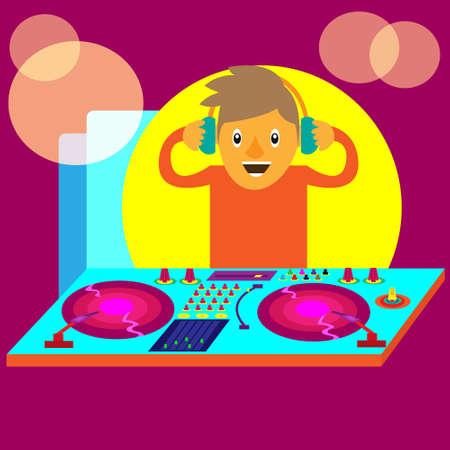 Disc Jockey or DJ Illustration