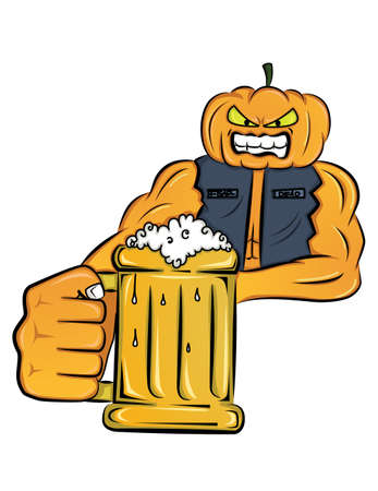 mister: Mister Pumpkin holding glass of beer