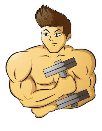 male bodybuilder: Male Bodybuilder holding dumbbell