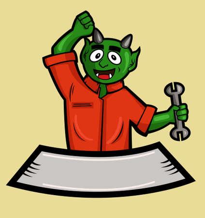 monster mechanic cartoon banner Illustration