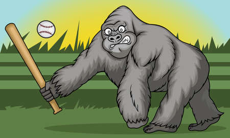 Gorilla Holding Softball Hitting Stick