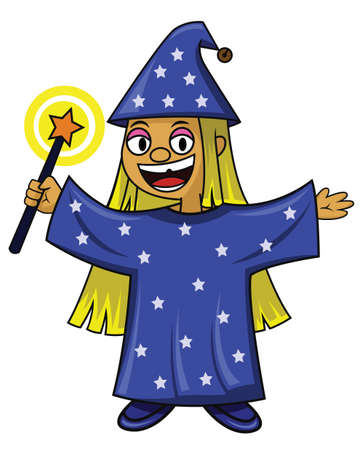 dressing up party: Mindy the little wizard with magic wand Illustration