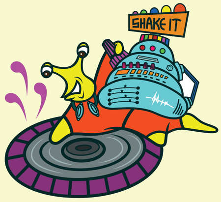 Disc Jockey Snail Cartoon
