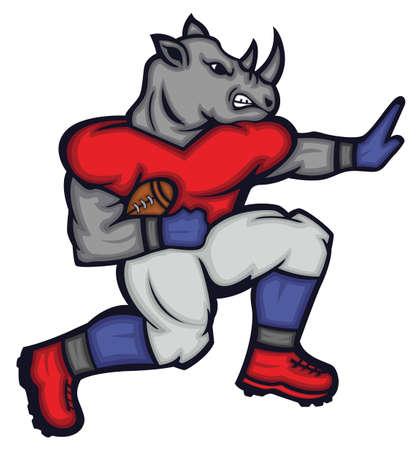 Rhinoceros Gridiron Quarterback Mascot