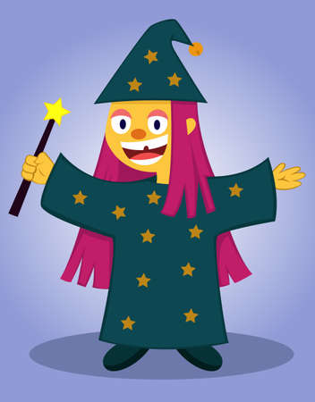 dressing up party: Happy little wizard with magic wand