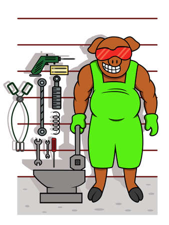 pig iron: Pig Mechanic with Tools