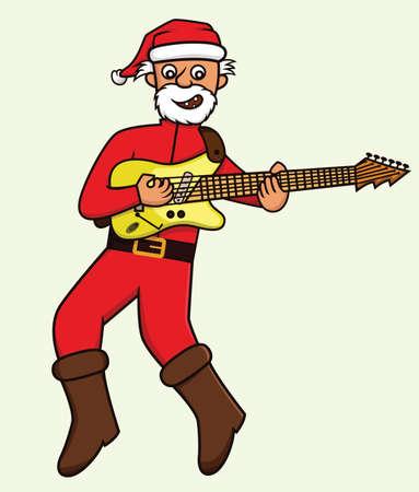 Santa Playing Electric Guitar Illustration