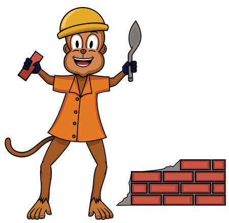 Bricklayer monkey plaster worker cartoon
