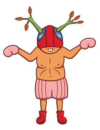 flabby: Masked Boxer Fighter Illustration