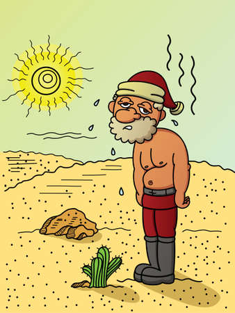 Illustration of poor Santa Claus exhausted and sweating because of hot weather in the desert