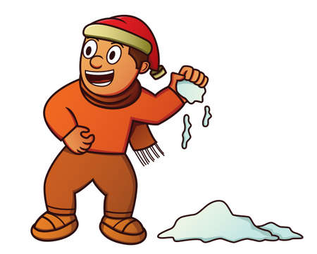 Boy Throwing Snowball Illustration