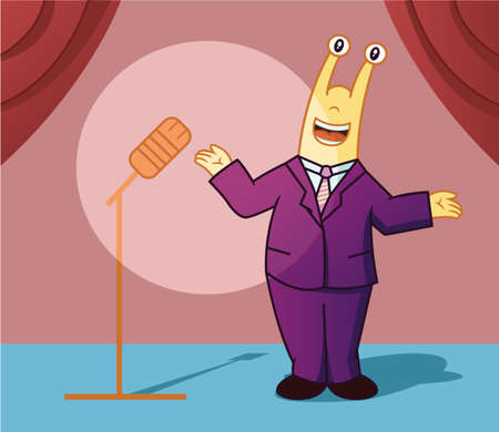presenter: Cartoon illustration of a snail working as a master ceremony or presenter