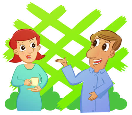 Cartoon of man and woman talking while enjoying a cup of drink with garden background. Illustration