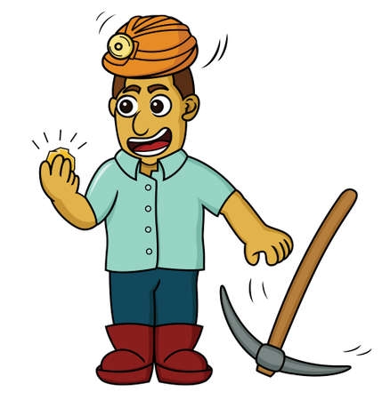 prospector: Cartoon illustration of a happy gold miner finding some gold.