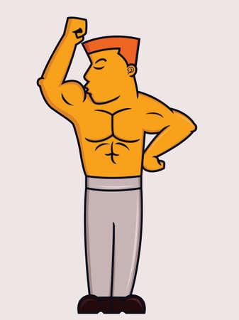 male bodybuilder: Cartoon illustration of a male bodybuilder kissing his biceps muscle Illustration
