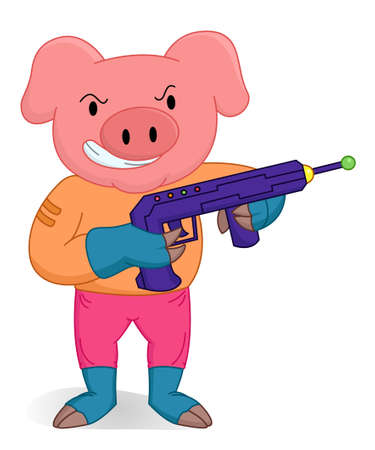 body guard: Pig standing as a brave soldier with weapon