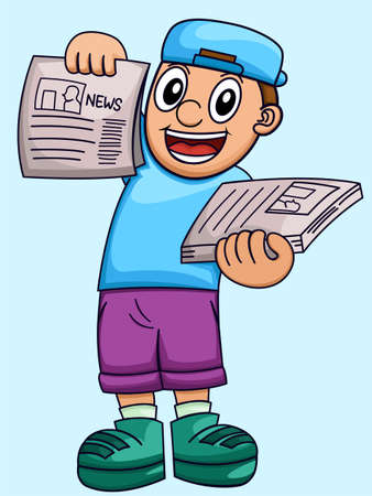 Cartoon illustration of a boy selling newspaper