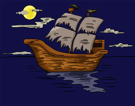 Illustration of a ghost ship sailing at sea