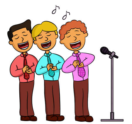 Cartoon illustration of choir men