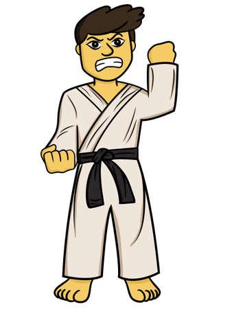 Cartoon illustration of a karate man fighter
