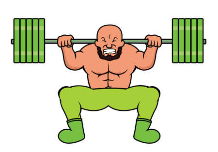 heavy weight: Weight Lifter Doing Heavy Barbell Squat