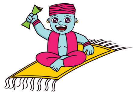 Genie with Magic Carpet and Money