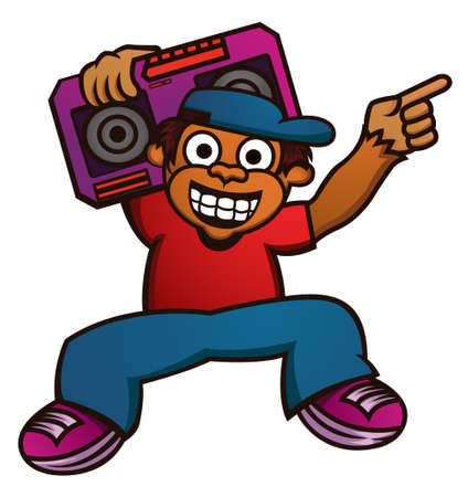Cartoon illustration of a funny monkey with boombox Illustration