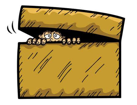 Cartoon illustration of scared kid hiding in the box Illustration