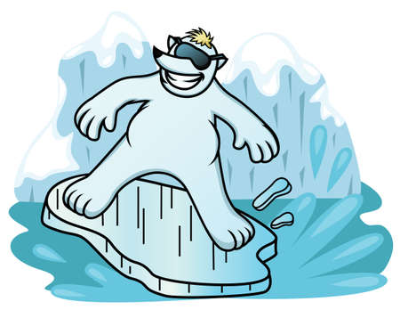 Cartoon illustration of a polar bear surfing with ice shelf  Illustration