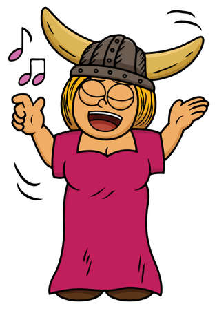 soloist: Cartoon illustration of a viking woman singing song Illustration