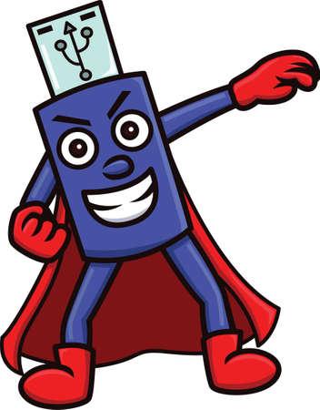 Cartoon illustration of a flash drive mascot character in superhero costume