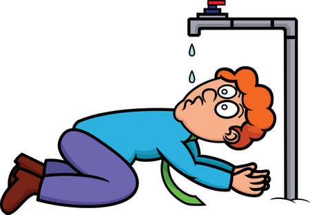 Ilustración de dibujos animados de un hombre sediento bebiendo del grifo