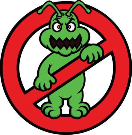 No Bacteria Sign Cartoon aislada en blanco Foto de archivo - 68236458